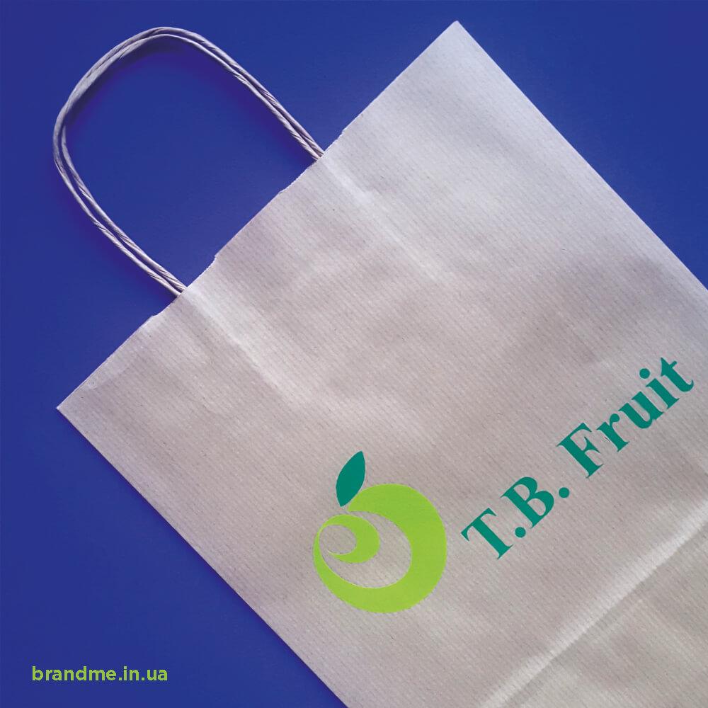 Пакети з білого крафту з логотипом для «T.B. Fruit»