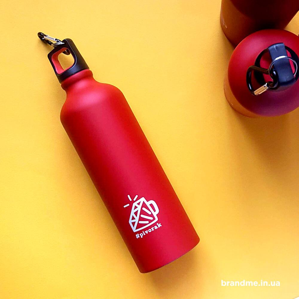 Красные матовые бутылки с нанесением