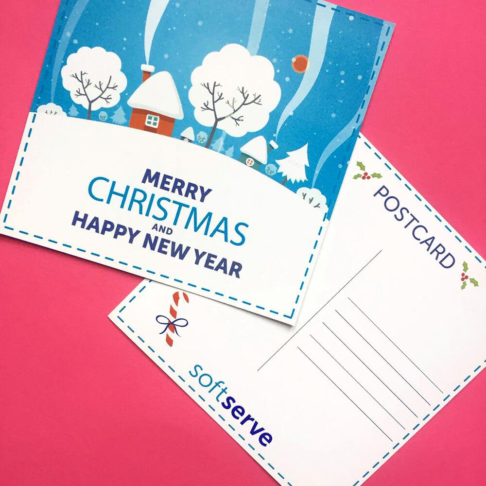 """Цифровий друк новорічних листівок для """"softserve"""""""