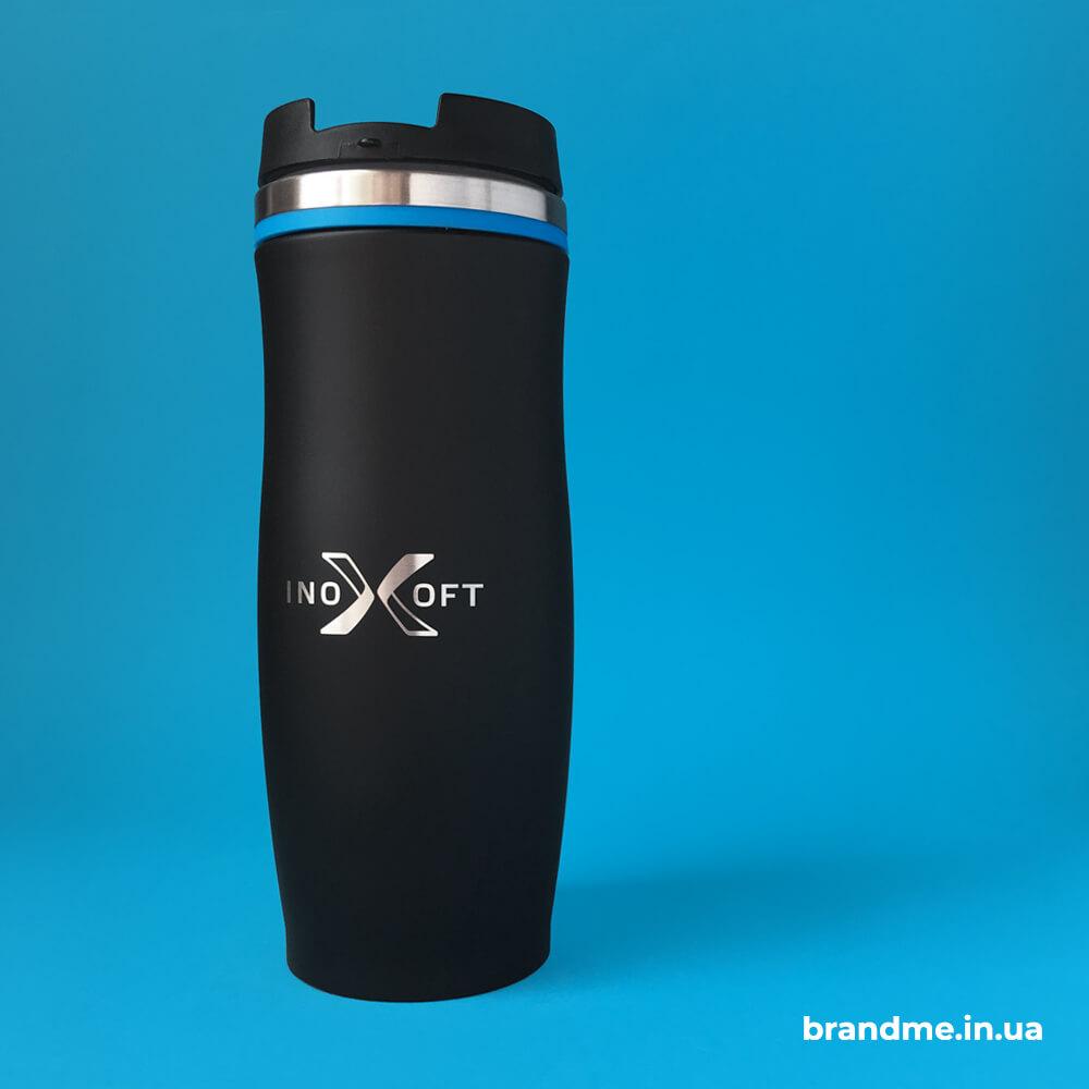 """Чорні матові термочашки з логотипом для """"Inoxoft"""""""
