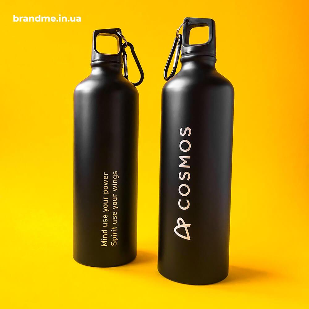 Черная матовая бутылка с гравировкой для COSMOS Prefab