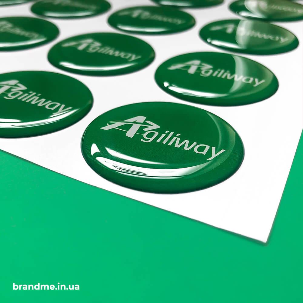 """Об'ємні наклейки з логотипом для компанії """"Agiliway"""""""