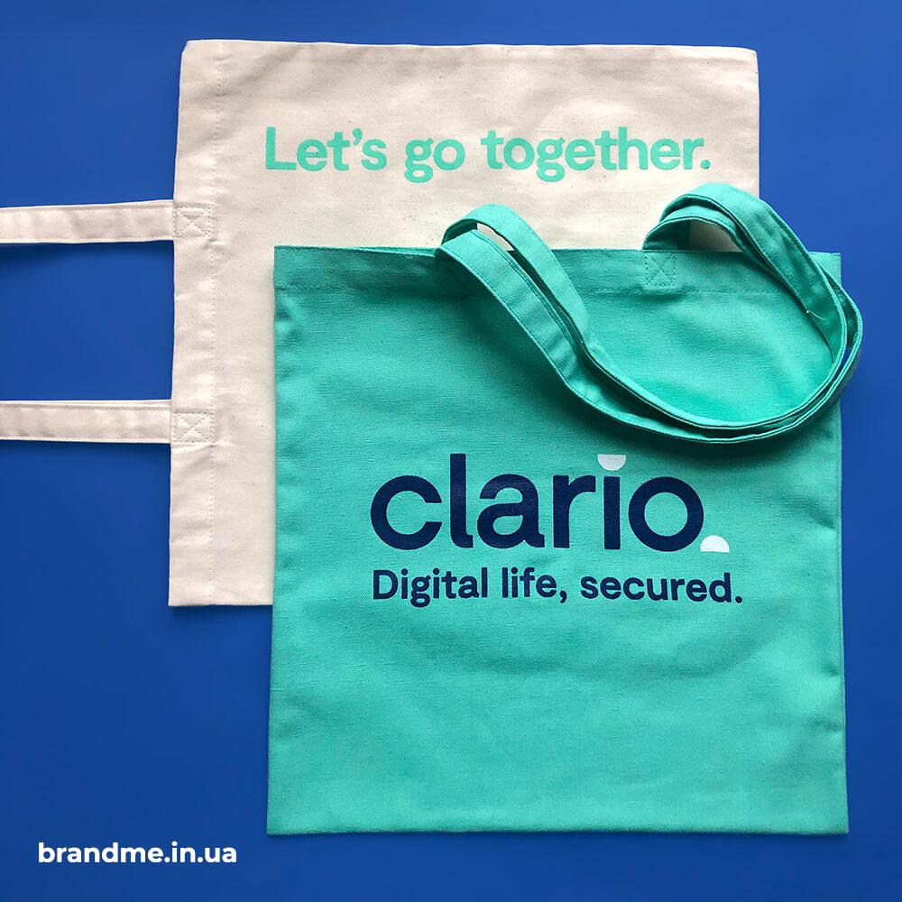 """Реалізували класні еко-торби у корпоративних кольорах для компанії """"Clario"""""""