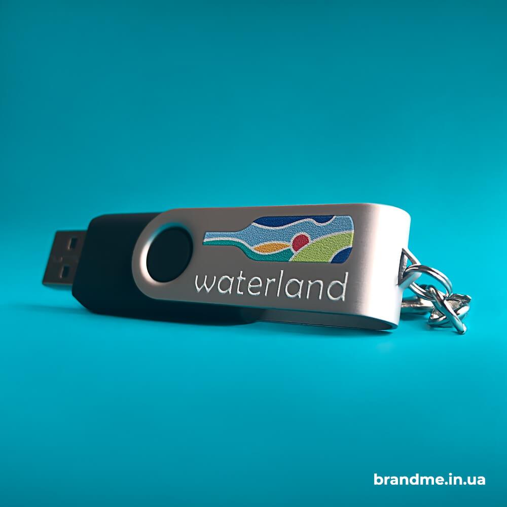 Полноцветная УФ-печать логотипа на металлических USB-флешках