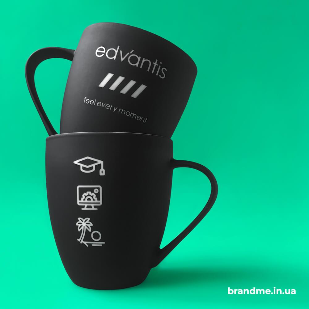 """Лазерне гравіювання на керамічних чашках для компанії """"Edvantis"""""""