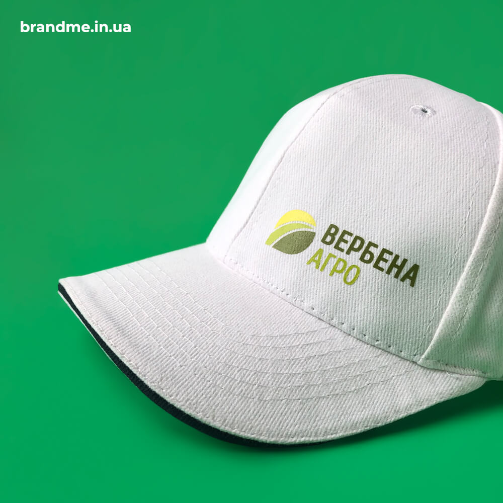 """Брендовані білі кепки для компанії """" Вербена Агро"""""""