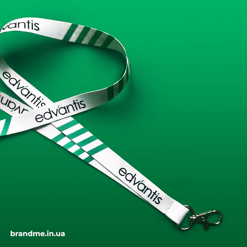 Брендированные шнурки для бейджей для компании Edvantis