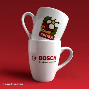 Друк логотипу на чашках для профіцентру BOSCH від ТМ