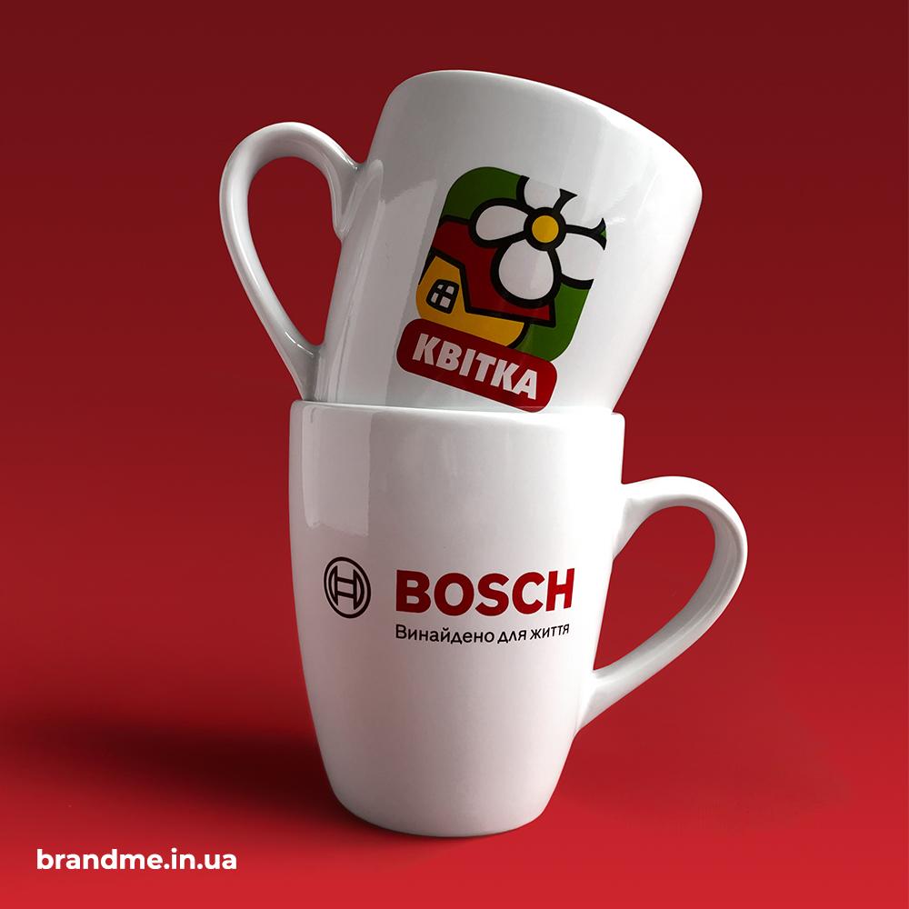 Печать логотипа на чашках для профицентра BOSCH от ТМ