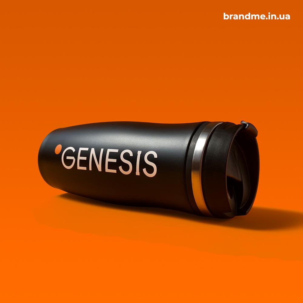Об'ємний друк логотипу на матових термочашках для ІТ-компанії