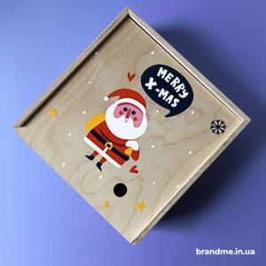 Декоративная фанерная коробка для подарков на Новый год