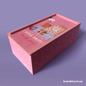 Деревянная коробка для подарков с нанесением рисунка