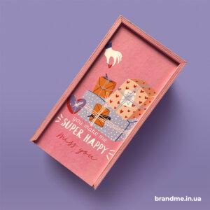 Деревянная шкатулка для подарков с полноцветной УФ-печатью