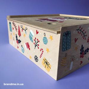 Печать на коробке для подарков, изготовленной из фанеры