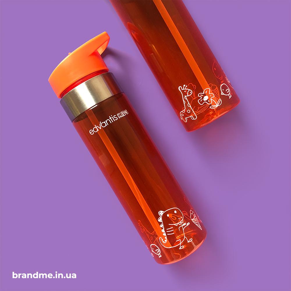 Печать по кругу на бутылочках для воды для компании Edvantis