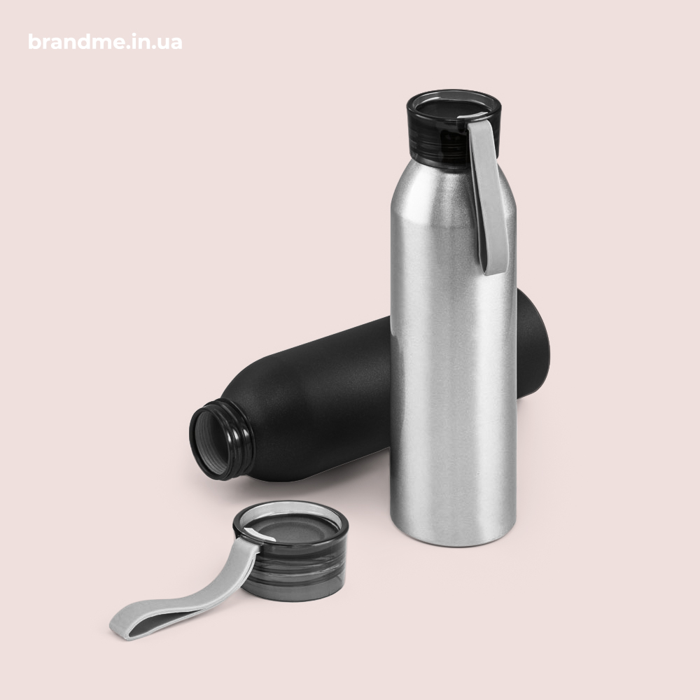 Алюминиевые спортивные бутылки с крышкой из полипропилена и силиконовой ручкой