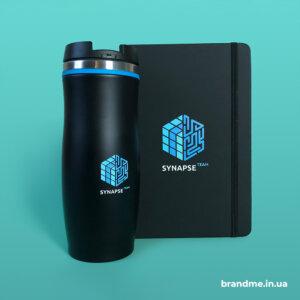 Блокнот та термочашка з логотипом для компанії