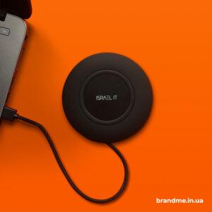 Беспроводные зарядки с гравировкой и покрытием soft-touch для компании Israel IT