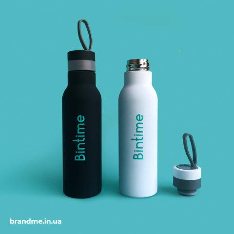 Термобутылки с нанесением логотипа и покрытием soft-touch для компании Bintime