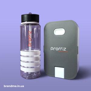 Пляшки для води та ланчбокси з УФ-друком логотипа для IT-компанії Proffiz
