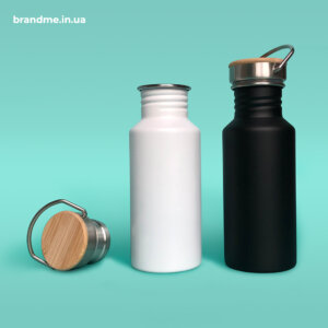 Термопляшки з нержавіючої сталі з бамбуковою кришкою та ручкою під нанесення логотипа