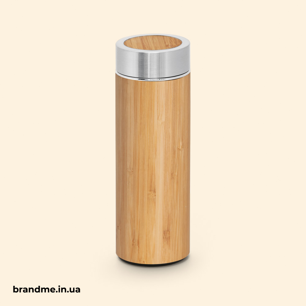 термос з бамбука та нержавіючої сталі